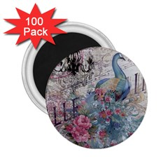 French Vintage Chandelier Blue Peacock Floral Paris Decor 2 25  Button Magnet (100 Pack) by chicelegantboutique