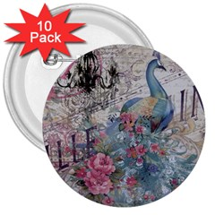 French Vintage Chandelier Blue Peacock Floral Paris Decor 3  Button (10 Pack) by chicelegantboutique