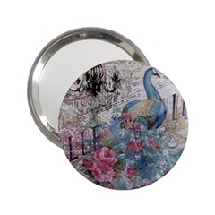 French Vintage Chandelier Blue Peacock Floral Paris Decor Handbag Mirror (2 25 )