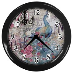 French Vintage Chandelier Blue Peacock Floral Paris Decor Wall Clock (black) by chicelegantboutique