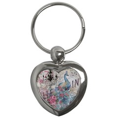 French Vintage Chandelier Blue Peacock Floral Paris Decor Key Chain (heart)