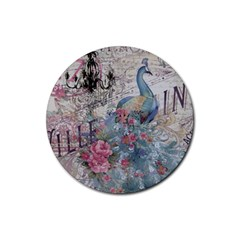 French Vintage Chandelier Blue Peacock Floral Paris Decor Drink Coasters 4 Pack (Round)