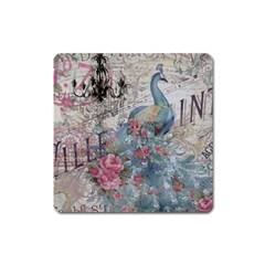 French Vintage Chandelier Blue Peacock Floral Paris Decor Magnet (square) by chicelegantboutique
