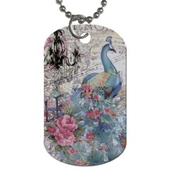 French Vintage Chandelier Blue Peacock Floral Paris Decor Dog Tag (two Sided)  by chicelegantboutique