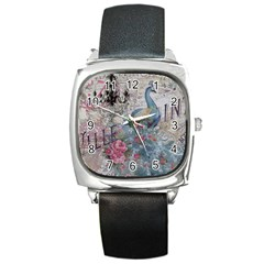 French Vintage Chandelier Blue Peacock Floral Paris Decor Square Leather Watch by chicelegantboutique