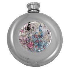 French Vintage Chandelier Blue Peacock Floral Paris Decor Hip Flask (round) by chicelegantboutique