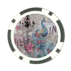 French Vintage Chandelier Blue Peacock Floral Paris Decor Poker Chip by chicelegantboutique
