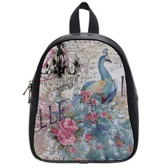 French Vintage Chandelier Blue Peacock Floral Paris Decor School Bag (small) by chicelegantboutique