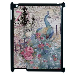 French Vintage Chandelier Blue Peacock Floral Paris Decor Apple Ipad 2 Case (black) by chicelegantboutique