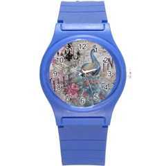 French Vintage Chandelier Blue Peacock Floral Paris Decor Plastic Sport Watch (small) by chicelegantboutique