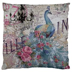 French Vintage Chandelier Blue Peacock Floral Paris Decor Large Cushion Case (two Sided)  by chicelegantboutique