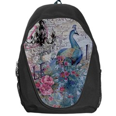 French Vintage Chandelier Blue Peacock Floral Paris Decor Backpack Bag by chicelegantboutique