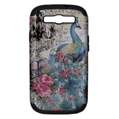 French Vintage Chandelier Blue Peacock Floral Paris Decor Samsung Galaxy S Iii Hardshell Case (pc+silicone) by chicelegantboutique