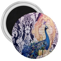 Damask French Scripts  Purple Peacock Floral Paris Decor 3  Button Magnet by chicelegantboutique