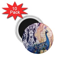 Damask French Scripts  Purple Peacock Floral Paris Decor 1 75  Button Magnet (10 Pack) by chicelegantboutique