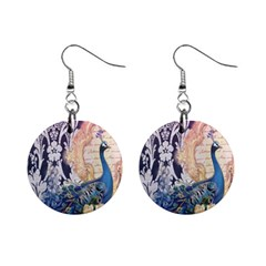 Damask French Scripts  Purple Peacock Floral Paris Decor Mini Button Earrings by chicelegantboutique