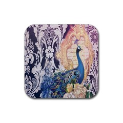 Damask French Scripts  Purple Peacock Floral Paris Decor Drink Coaster (square) by chicelegantboutique