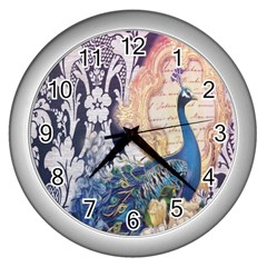 Damask French Scripts  Purple Peacock Floral Paris Decor Wall Clock (silver) by chicelegantboutique