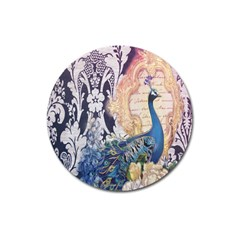 Damask French Scripts  Purple Peacock Floral Paris Decor Magnet 3  (round)