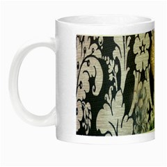 Damask French Scripts  Purple Peacock Floral Paris Decor Glow In The Dark Mug by chicelegantboutique