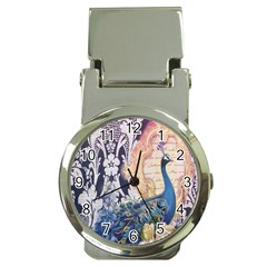 Damask French Scripts  Purple Peacock Floral Paris Decor Money Clip With Watch by chicelegantboutique