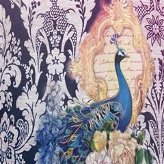 Damask French Scripts  Purple Peacock Floral Paris Decor Canvas 12  X 12  (unframed) by chicelegantboutique