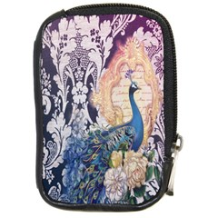 Damask French Scripts  Purple Peacock Floral Paris Decor Compact Camera Leather Case by chicelegantboutique