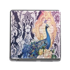 Damask French Scripts  Purple Peacock Floral Paris Decor Memory Card Reader With Storage (square) by chicelegantboutique