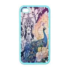 Damask French Scripts  Purple Peacock Floral Paris Decor Apple Iphone 4 Case (color) by chicelegantboutique
