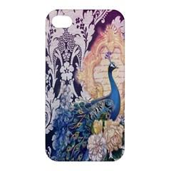 Damask French Scripts  Purple Peacock Floral Paris Decor Apple Iphone 4/4s Premium Hardshell Case by chicelegantboutique