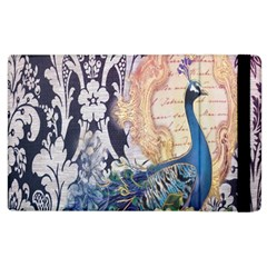 Damask French Scripts  Purple Peacock Floral Paris Decor Apple Ipad 3/4 Flip Case by chicelegantboutique