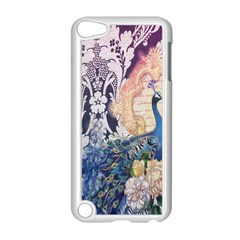 Damask French Scripts  Purple Peacock Floral Paris Decor Apple Ipod Touch 5 Case (white) by chicelegantboutique