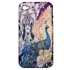 Damask French Scripts  Purple Peacock Floral Paris Decor Apple Iphone 4/4s Hardshell Case (pc+silicone) by chicelegantboutique