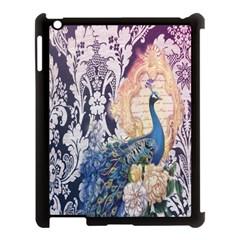 Damask French Scripts  Purple Peacock Floral Paris Decor Apple Ipad 3/4 Case (black) by chicelegantboutique
