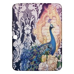 Damask French Scripts  Purple Peacock Floral Paris Decor Samsung Galaxy Tab 3 (10 1 ) P5200 Hardshell Case  by chicelegantboutique