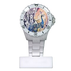 Damask French Scripts  Purple Peacock Floral Paris Decor Nurses Watch