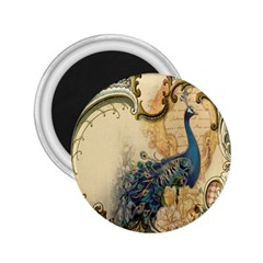 Victorian Swirls Peacock Floral Paris Decor 2 25  Button Magnet by chicelegantboutique