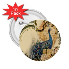 Victorian Swirls Peacock Floral Paris Decor 2 25  Button (10 Pack) by chicelegantboutique
