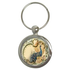 Victorian Swirls Peacock Floral Paris Decor Key Chain (round) by chicelegantboutique
