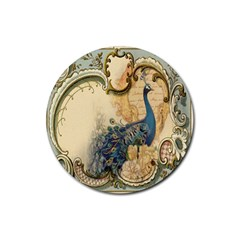 Victorian Swirls Peacock Floral Paris Decor Drink Coaster (round) by chicelegantboutique