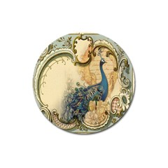 Victorian Swirls Peacock Floral Paris Decor Magnet 3  (round) by chicelegantboutique
