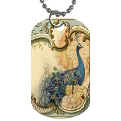 Victorian Swirls Peacock Floral Paris Decor Dog Tag (two Sided)  by chicelegantboutique