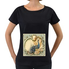Victorian Swirls Peacock Floral Paris Decor Womens' Maternity T-shirt (Black) by chicelegantboutique