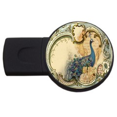 Victorian Swirls Peacock Floral Paris Decor 4gb Usb Flash Drive (round) by chicelegantboutique