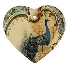 Victorian Swirls Peacock Floral Paris Decor Heart Ornament (two Sides) by chicelegantboutique