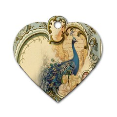 Victorian Swirls Peacock Floral Paris Decor Dog Tag Heart (two Sided) by chicelegantboutique