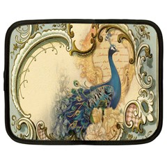 Victorian Swirls Peacock Floral Paris Decor Netbook Case (large) by chicelegantboutique