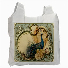 Victorian Swirls Peacock Floral Paris Decor Recycle Bag (two Sides) by chicelegantboutique