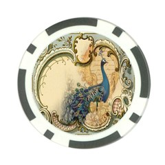 Victorian Swirls Peacock Floral Paris Decor Poker Chip 10 Pack by chicelegantboutique