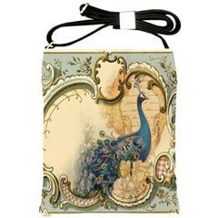 Victorian Swirls Peacock Floral Paris Decor Shoulder Sling Bag by chicelegantboutique